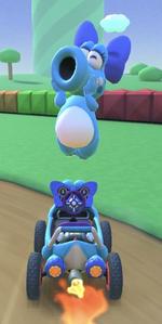 Birdo (Light Blue) performing a trick.