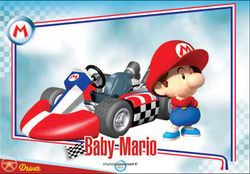 The Mario Kart Wii Baby Mario trading card.