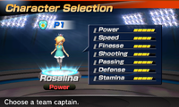 Rosalina's stats in the soccer portion of Mario Sports Superstars