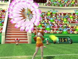 Princess Daisy about to use her Wonder Flower move in Mario Power Tennis