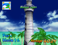 The sixteenth hole of Blooper Bay from Mario Golf: Toadstool Tour.