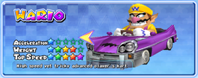 Wario in a kart from Mario Kart Arcade GP 2
