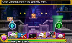 Screenshot of World 7-Ghost House, from Puzzle & Dragons: Super Mario Bros. Edition.