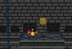 Image of Mario revealing a hidden? Block in Bowser's Castle, in Paper Mario.