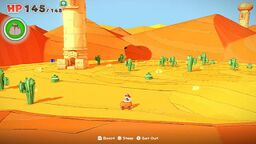 A view of Scorching Sandpaper Far West in Paper Mario: The Origami King