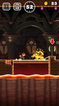 A castle level in Super Mario Run