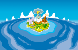 Artwork of the whole Vibe Island for Super Princess Peach