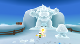Fire Luigi in the Freezy Flake Galaxy of Super Mario Galaxy 2