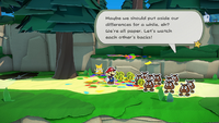 Mario and Olivia encounter a group of Goombas in Paper Mario: The Origami King