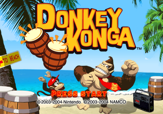 Title screen for Donkey Konga