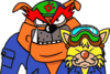 A sprite of Dribble and Spitz, from WarioWare, Inc.: Mega Microgame$!.