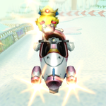 Baby Peach performing a Trick in Mario Kart Wii