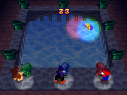 Wario in Spotlight Swim from Mario Party 3.