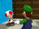 Luigi talks to a Toad