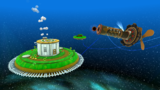 """A screenshot of Sky Station Galaxy during the """"Storming the Sky Fleet"""" mission from Super Mario Galaxy 2."""