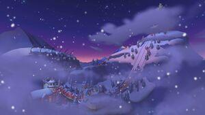 View of Merry Mountain in Mario Kart Tour