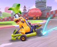 The icon of the Baby Luigi Cup challenge from the 2021 Paris Tour in Mario Kart Tour.