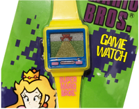 Front side of a Peach Game & Watch game zoomed in.