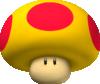 Artwork of a Mega Mushroom, from Mario Kart Wii.
