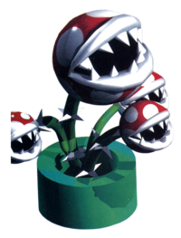 Super Mario RPG: Legend of the Seven Stars promotional artwork: Megasmilax with Smilaxes