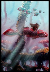 Concept artwork of Donkey Kong Country Returns showing an underwater area where Donkey Kong rides a giant Placoderm-like fish.