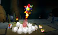 Screenshot of the Rocket Blast Bros. Attack in Mario & Luigi: Paper Jam