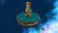 """A screenshot of Buoy Base Galaxy during """"The Floating Fortress"""" mission from Super Mario Galaxy."""
