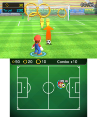 Ring Challenge in soccer in Mario Sports Superstars