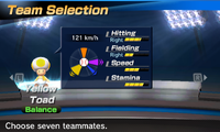 Yellow Toad's stats in the baseball portion of Mario Sports Superstars