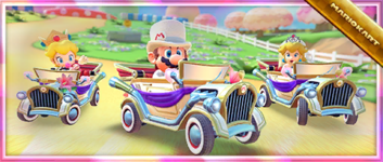 """The """"Celebrating the Wedding Tour with the Happy Ride!"""" Pack from the Wedding Tour in Mario Kart Tour"""