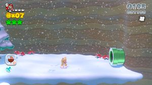 Luigi Sighting in Snowball Park in Super Mario 3D World.