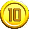A 10-Coin in the New Super Mario Bros. U style in Super Mario Maker 2.