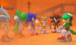 Yoshi, Shadow, Silver, Sonic, and Tails challenge Jet to a match