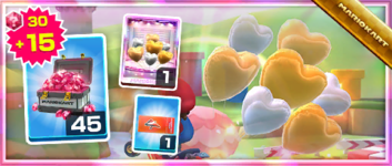 The Silver-and-Gold Hearts Pack from the Peach Tour in Mario Kart Tour