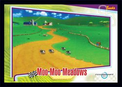 The Moo Moo Meadows card from the Mario Kart Wii trading cards