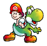 Artwork of Yoshi and Baby Mario from Yoshi Touch & Go (later reused in Yoshi's Island DS)