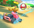The icon of the Toad Cup challenge from the Hammer Bro Tour and the Waluigi Cup challenge from the Ninja Tour in Mario Kart Tour.