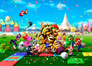 A promotional image for Mario Party 8, used for the game cover