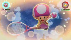 Toadette performing her Special Shot, the Hop Skip Jump