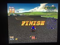 Mario timing out in 28th place in both the one-player and two-player modes