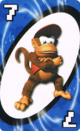 The Blue Seven card from the Nintendo UNO deck (featuring Diddy Kong)