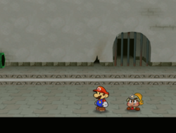 Screenshot of Mario at a hidden ? Block location in Rogueport Sewers, in Paper Mario: The Thousand-Year Door.