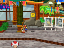 Screenshot of Mario at a hidden ? Block location in Glitzville, in Paper Mario: The Thousand-Year Door.