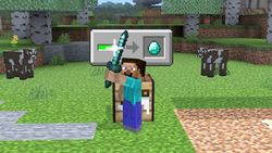 Steve creating a weapon via his neutral special