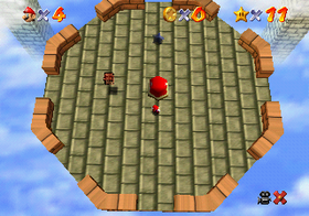 Mario on the Tower of the Wing Cap