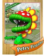 Level 1 Petey Piranha card from the Mario Super Sluggers card game