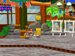 "Screenshot of Mario using his Hammer to reveal a hidden ""stepping stone"" ? Block in Glitzville, in Paper Mario: The Thousand-Year Door."