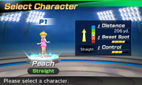 Princess Peach's stats in the golf portion of Mario Sports Superstars