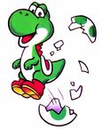 Artwork of Yoshi from the game Yoshi.