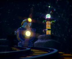 The illustration of Mine Cart Tunnel Throwdown in Captain Toad: Treasure Tracker.
